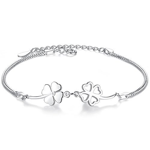 Bo&Pao Kleeblatt Armband Damen 925 Sterling Silber, Glücksbringer Armkette mit verstellbar Länge