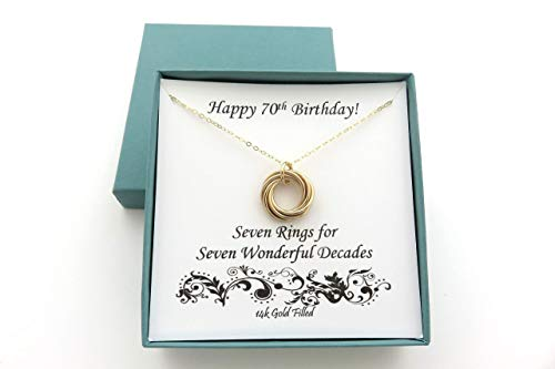 70th Birthday Seven Ring Necklace