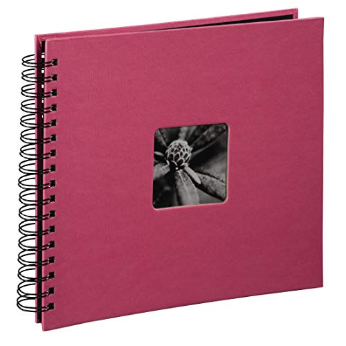 Hama Fotoalbum Fine Art, 50 schwarze Seiten, 25 Blatt, Spiralalbum 28 x 24 cm, mit Ausschnitt für Bildeinschub, orchideenpink