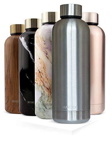 MAMEIDO Trinkflasche Edelstahl - Silber Matt - 500ml, 0,5l Thermosflasche - auslaufsicher, BPA frei - schlanke isolierte Wasserflasche, leichte doppelwandige Isolierflasche