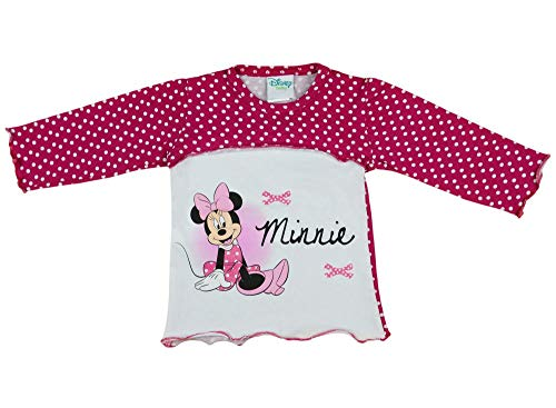 Minnie Mouse Disney - Camiseta de manga larga para niña (tallas 80, 86, 92, 98, 104, 110, 116, 122, algodón), diseño de Minnie Mouse, color blanco y rosa Modelo 11. 80 cm