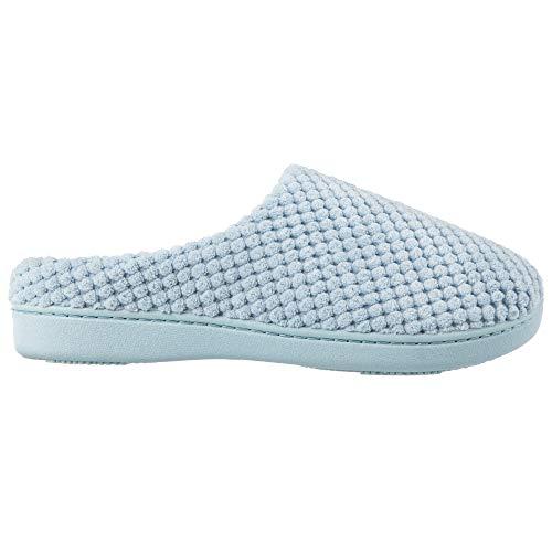 Damen-Pantoffeln aus Mikroterry von Isotoner, mit niedrigem Rückenteil mit Memory-Schaum, Blau (Blau - Bonnie Blue), Medium
