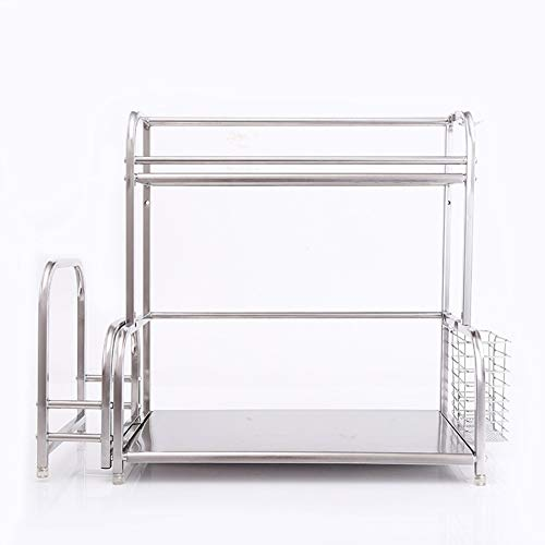 LLLZM Organizer met 2 niveaus, voor badkamerkast, rek, organizer onder wastafel, roestvrij staal, opbergrek, uitbreidbaar onder wastafel, organizer