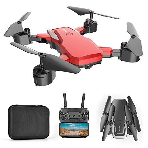 YAHCQ Drone con Camara 4K HD para Niños Adultos, Transmisión En Tiempo Real, Mantenimiento De Altitud, Despegue Y Aterrizaje con Una Sola Tecla, Apto para Principiantes,Rojo