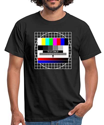 Analoges Fernsehtestbild TV Testbild Männer T-Shirt, L, Schwarz