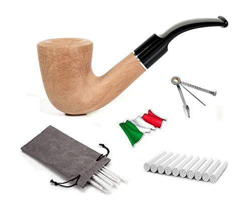 Imagen del productoRigoletto Pipa de tabaco de madera de peral de calidad superior, boquilla de metacrilato + juego de 10 cepillos, piñón de 3 funciones, 10 filtros de 9 mm y bolsa