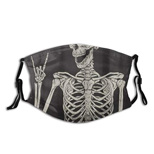 Mokale Face Cover Rock and Roll Skull Skeleton Bone Love Music Sugar Candy Skull Day of Dead On Black Backdrop Balaclava Reusable Windproof Anti-Dust Mouth Bandanas Running Neck Gaiter with 2 Filters