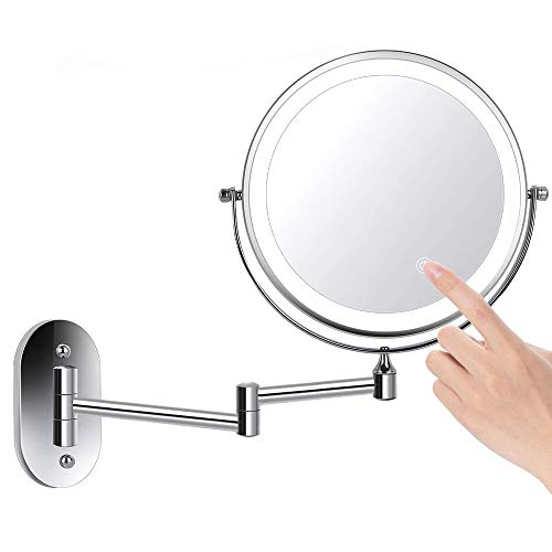 COFFEE CAT LED Double Side Wall Mounted Mirror 1X/5X Magnify, Waterproof Extending Arm Mirror 360 Rotating, Touch Adjustable Light, Bathroom Bedroom, Battery Powered