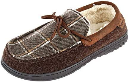 Dearfoams mens Ethan Woven Plaid and Microwool Moccasin With Tie Slipper Coffee Medium US product image