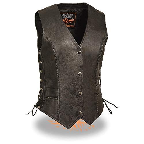 Milwaukee Leather ML2042 Ladies Classic Black Leather Vest with Thin Braid Design - Medium