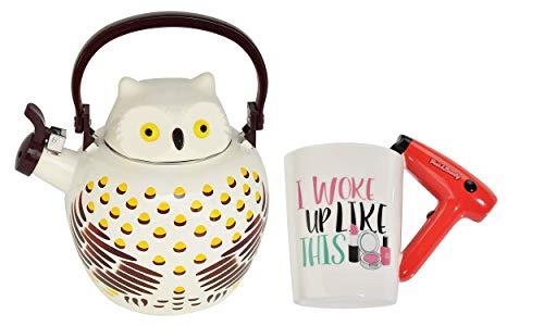 HOME-X Owl Whistling Tea Kettle & Hair Dryer Handle Ceramic Mug (I Woke Up Like This)
