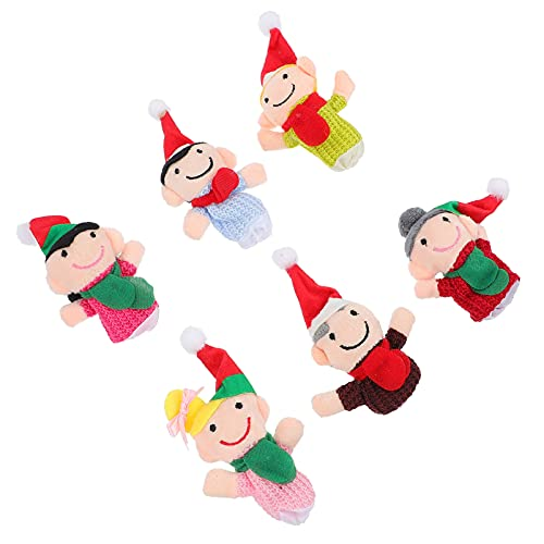 TOYANDONA 6 Piezas de Navidad Marioneta de Dedo de Felpa de La Familia Muñeca Marioneta de Algodón de Peluche de Vacaciones de Juguete para Contar Cuentos Juguetes Niños Regalos de
