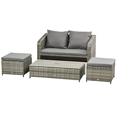 Outsunny 4-Piece Garden Rattan Furniture Outdoor Wicker Conversation Patio Sofa Set with 2-seater Sofa, 2 Footstools and Lift Top Coffee Table Space-saving- Grey