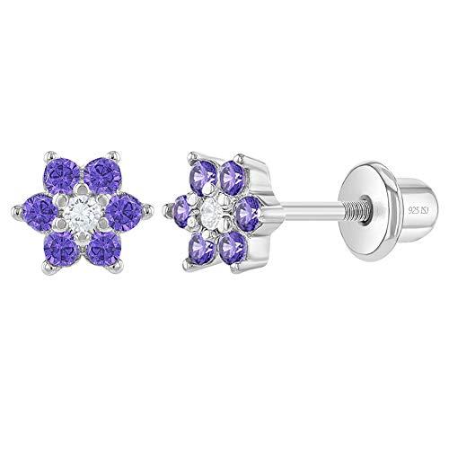 In Season Jewelry - Säugling Kleinkind Baby - Schraubverschluss Ohrringe Blume 925 Sterling Silber Lila CZ Zirkonia