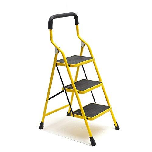 3 Steps Anti-slip ijzeren ladder, slaapzaal Stepladders Courtyard Repair Ladder Familie Ladder Kruk/pedaal Verbreding Design (kleur: rood, Maat: 49 * 72 * 123cm) XIUYU