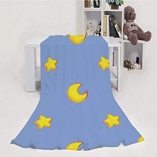 959 Custom Personalized Cartoon Star Moon Sketch Ink Line Art Seamless Pattern Vector,Flannel Fleece Throw Blanket, Weight Super Soft COZ PBed Blanket 50''x60''(WxL)