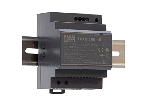 Mean Well HDR-100-24N Fuente de alimentación: 1 Salida de 100 W, Montaje en Carril DIN 24 V 4.2 A para Uso Industrial
