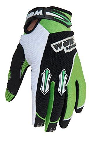Wulf Sport Kids Stratos MX Guantes Junior Motocross Motocicleta Quad Biking Guante - Verde - XXXS 3-5 años