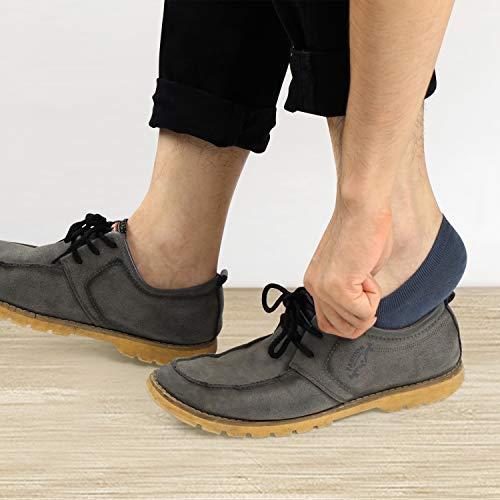 Closemate No Show Socks 6 Pairs Non Slip Cotton Low Cut Invisible Casual Socks for Men & Women, Grey & Deep Blue & Dark Gray, Men's Size: 6-10 / Women's Size: 7-11