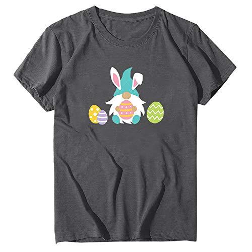Masrin T-shirts pour femme - Grande taille - Imprimé œufs de Pâques - Manches courtes - Col rond - Graphique - Tunique (XL, gris)