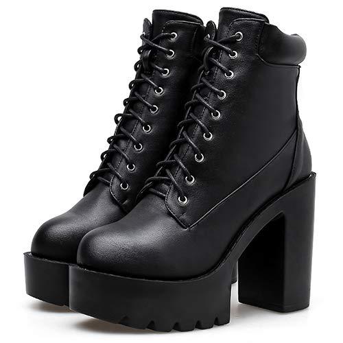 LFLXUE Schwarze Lederstiefel Frauen In Stiefeletten Schnüren Chunky Platform Heels Damen Herbst Schuhe 4 Schwarze Schuhe