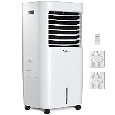 Pro Breeze 10L Portable Air Cooler with 4 Operational Modes, 3 Fan Speeds, LED Display & Remote Control. High Powered Evaporative Air Cooler with Built in Timer & Automatic Oscillation