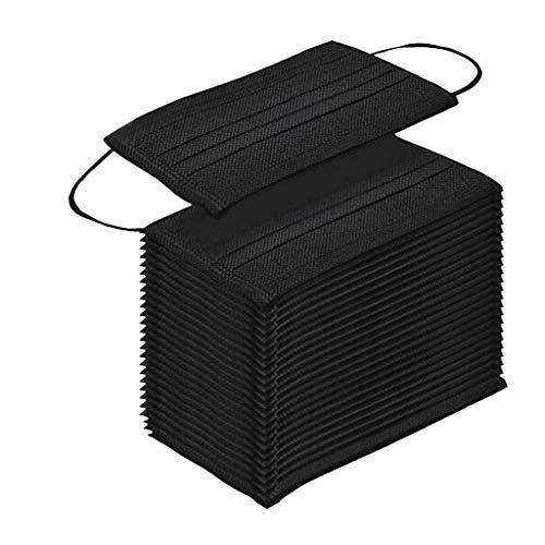Pany 20 Stück Einweg 3-lagig Face Shield Staubschutz mit Ohrschlaufen (schwarz)