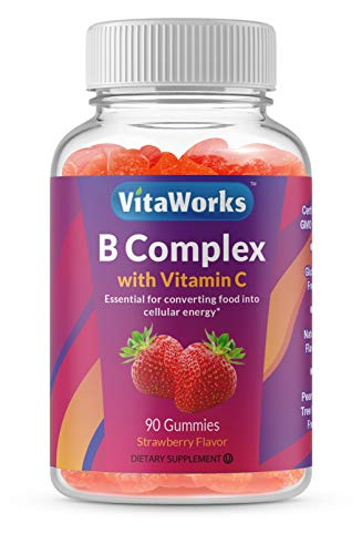 WellWorks Vitamin B Complex with Vitamin C – Great Tasting Natural Flavor Gummy Supplement – with Niacin, B6, Folic Acid, B12, Biotin & Pantothenic Acid – Energy and Nerve System Support – 90 Gummies