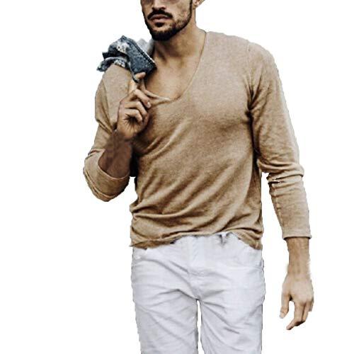 DNOQN Oversize T Shirt Herren Cashmere Pullover Slim Fit Bluse Herren Fashion Pure...