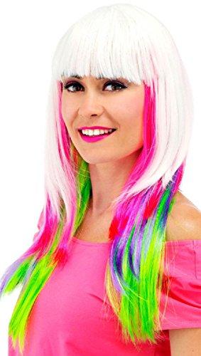 Folat 26709 Perruque avec Cheveux Long et Ponny Blanc