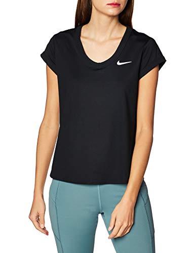 NIKE W Nkct Dry Top SS Camiseta, Mujer, Black/White, M
