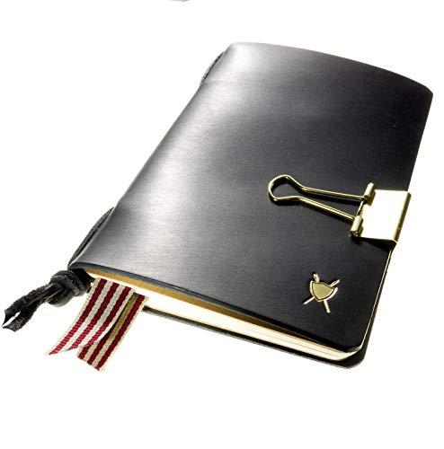 LIEBHARDT Notizbuch Leder Cover für Moleskine Pocket A6 Notizheft nachfüllbar achtsam in Deutschland gefertigt Geschenk für deinen Lieblingsmensch Männer/Frauen (schwarz)