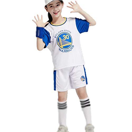 Golden State Warriors 30# Jungen Mädchen Stephen Curry Basketball Jersey Anzug, Kinder Trainingsanzug Kurzarm Top Shorts Set Trainingsweste-White-S