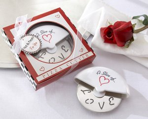"""""""A Slice of Love"""" Stainless-Steel Pizza Cutter in Miniature Pizza Box - Set of 25"""