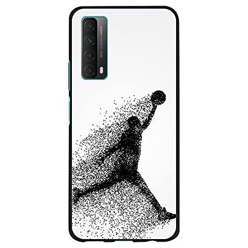 Funda Negra para [ Huawei P Smart 2021 / Y7A ], Carcasa de Silicona Flexible TPU, diseño : Jugador de Baloncesto Abstracto Saltando