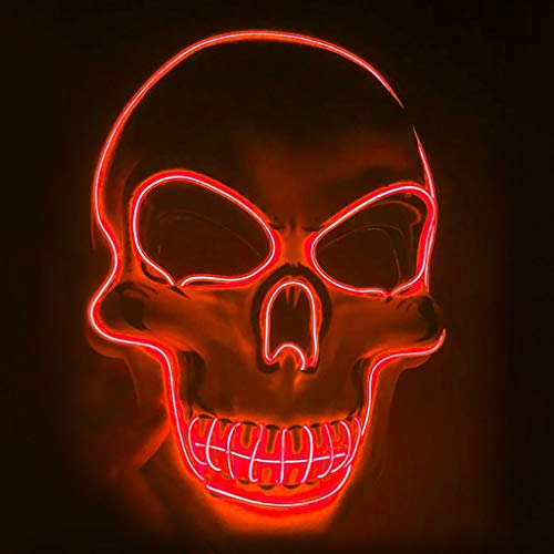UINGKID Halloween Maske LED Leuchtmaske Scary Glowing Mask für Festival Cosplay Halloween Kostüm Party