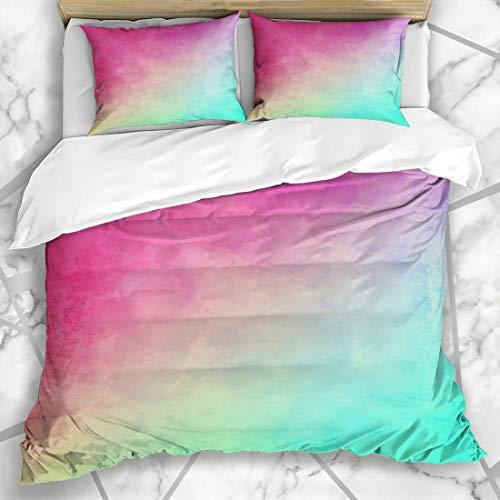 LONLYTISA Bettwäsche - Bettwäscheset Wall Teal Magenta Grungy vergilbte Regenbogen Abstract Pink Worn Aquarell Türkis Farbverlauf Pfirsich Mikrofaser weich dreiteilig135*200