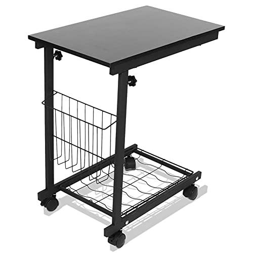 Verstellbarer Mobiler Beistelltisch, Höhenverstellbarer Schreibtisch Mit Abnehmbaren Rädern Sofa Beistelltisch Laptop-Beistelltisch Für Bett Sofa Couch Frühstück 50 x 30 x 60-80 cm