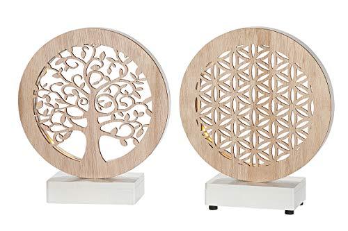 GILDE LED Tischlampe Lebenskreis Holz Natur Höhe 17 cm, Geschenk, Beleuchtung