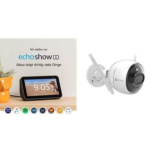 Echo Show 5, Restez en contact avec l'aide d'Alexa, Noir + EZVIZ C3X Caméra Surveillance WiFi Extérieur Vision Nocturne Couleur, IA, 24H Stockage Cloud Gratuit, Alarme Sirène et Flash