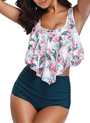 CORAFRITZ Conjunto de bikini para mujer, estilo vintage, con tirantes de cintura alta, con volantes y fruncidos, trajes de baño de dos piezas