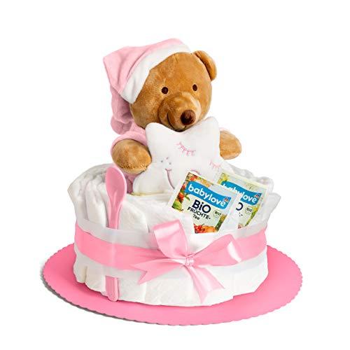 Windeltorte in Rosa mit Kuscheltier, perfekt als Geschenk für Mädchen zur Baby-Party oder Geburt