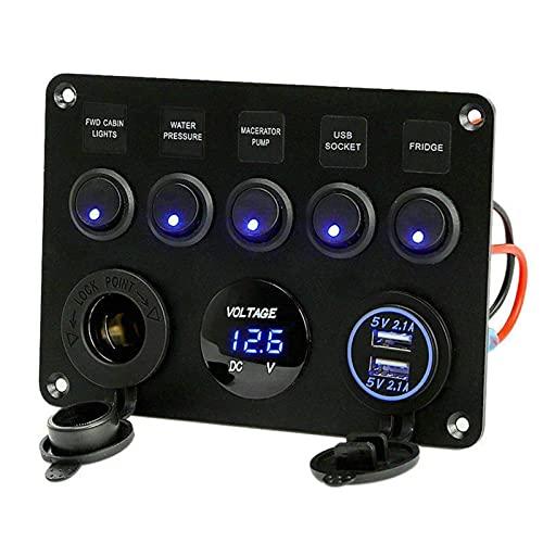 5 bandas 12V/24V caja de fusibles en línea Panel de interruptor LED Dual USB Car Boat Truck Camper Pantalla de voltaje digital azul/verde luz LED (azul)
