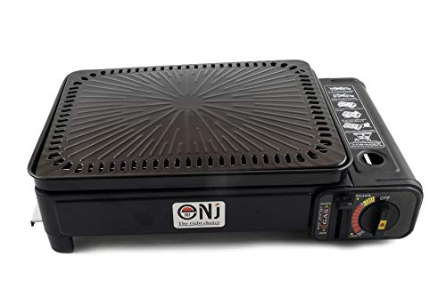 NJ Camping Portable Gas Grill BBQ Stove Carry Bag 2.2kW + Apron + Butane Canisters (4 Canisters)