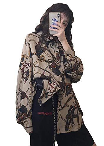 AOZUOレディース シャツ 長袖 ゆったり おしゃれ シフォンシャツ ブラウス 花柄 原宿風 BF風 Hip hop プリント トレロ 可愛い オーバーシャツ トップス 大きいサイズアプリコット