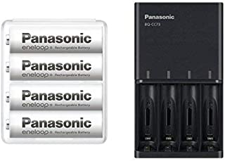 【Amazon.co.jp限定】パナソニック エネループ 単3形充電池 4本パック スタンダードモデル BK-3MCC/4SA + 急速充電器 BQ-CC73AM-K セット