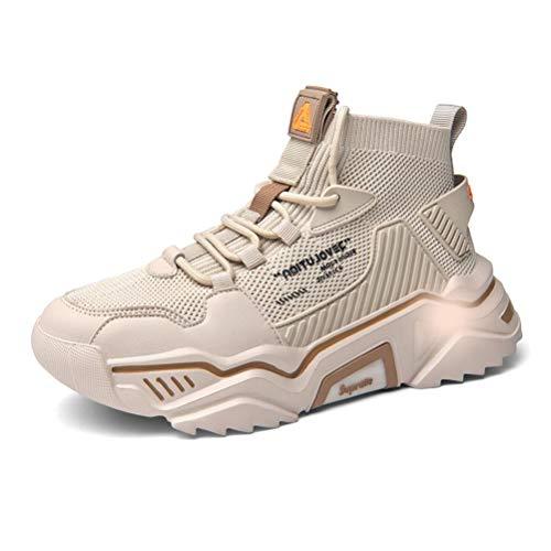 SANNAX - Zapatillas de deporte de moda para hombre, de caña alta, estilo informal, beige (Beige), 46 EU