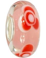 IMPPAC Cuentas de cristal rosa de plata 925 SMB8115