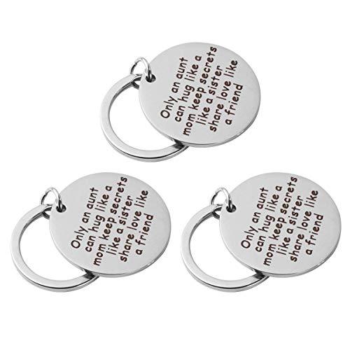 Amosfun 3Pcs Regalos de Tía de Sobrina Sobrino Que Solo Una Tía Puede Abrazar Como Una Madre Guarda Secretos Como Una Hermana Comparte El Amor Como Un Amigo Llavero 30Mm