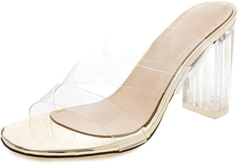 Vimisaoi Women's Clear Transparent Strap Chunky High Heels Slide Sandals, Comfortable Open Toe Slip On Mules